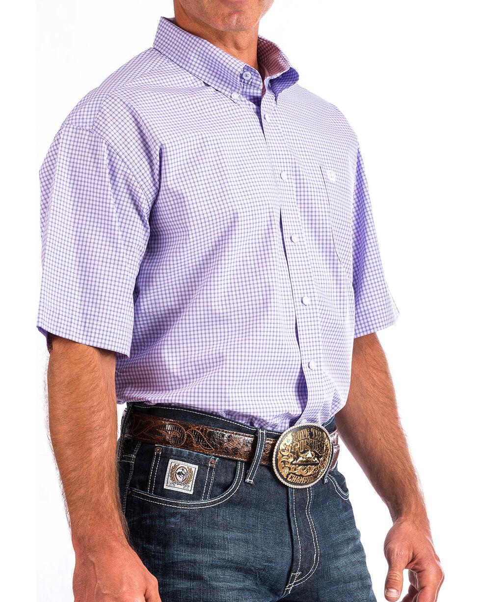 Cinch Men's Light Purple Plaid Short Sleeve Button Down Shirt, Light Purple, hi-res