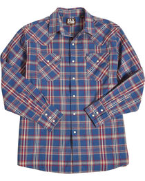Ely Cattleman Men's Navy Western Plaid Denim Shirt , , hi-res