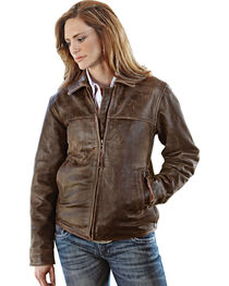 STS Ranchwear Women's Rifleman Brown Leather Jacket, , hi-res