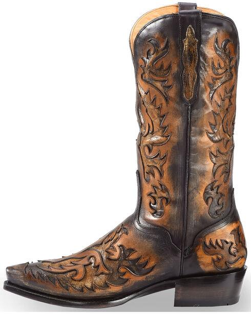El Dorado Men's Black and Tan Inlay Cowboy Boots – Snip Toe , Black, hi-res