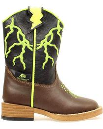 Double Barrel Toddler Boys' Ace Lightning Bolt Cowboy Boots - Round Toe, , hi-res