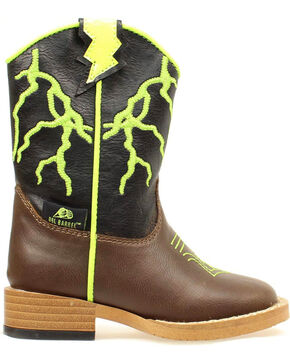 Double Barrel Toddler Boys' Ace Lightning Bolt Cowboy Boots - Round Toe, Brown, hi-res