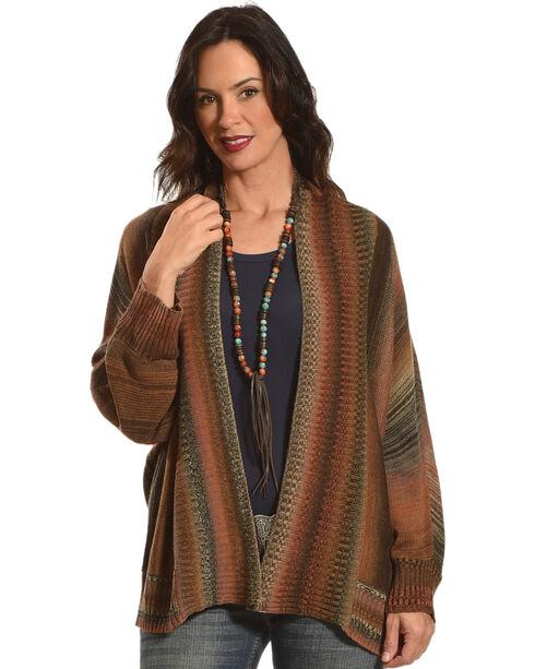 Nostalgia Women's Striped Knitted Cardigan, Rust Copper, hi-res
