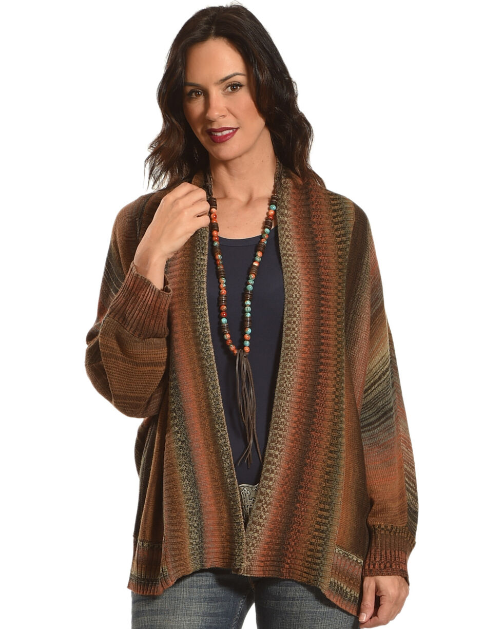 Nostalgia Women's Striped Knitted Cardigan, Rust Copper, hi-res