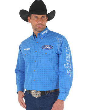 Wrangler Men's Ford Logo Grid Long Sleeve Shirt, Blue, hi-res