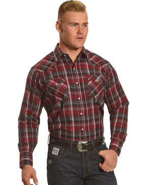 Ely Cattleman Men's Burgundy Textured Plaid Shirt, Burgundy, hi-res