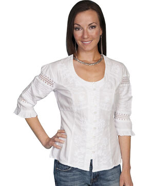 Scully 3/4 Length Sleeve Soutache Top, White, hi-res