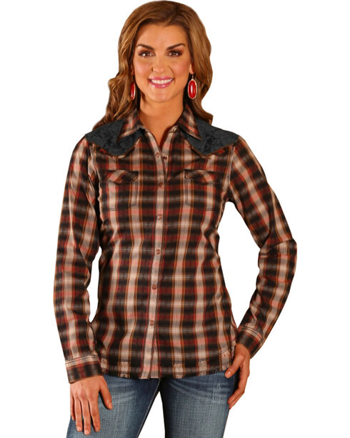 Wrangler Women's Lace Yoke Plaid Shirt, Black, hi-res