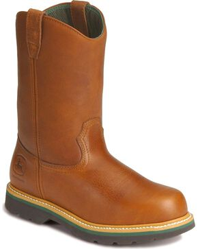John Deere® Men's Steel Toe Wellington Work Boots, Walnut, hi-res