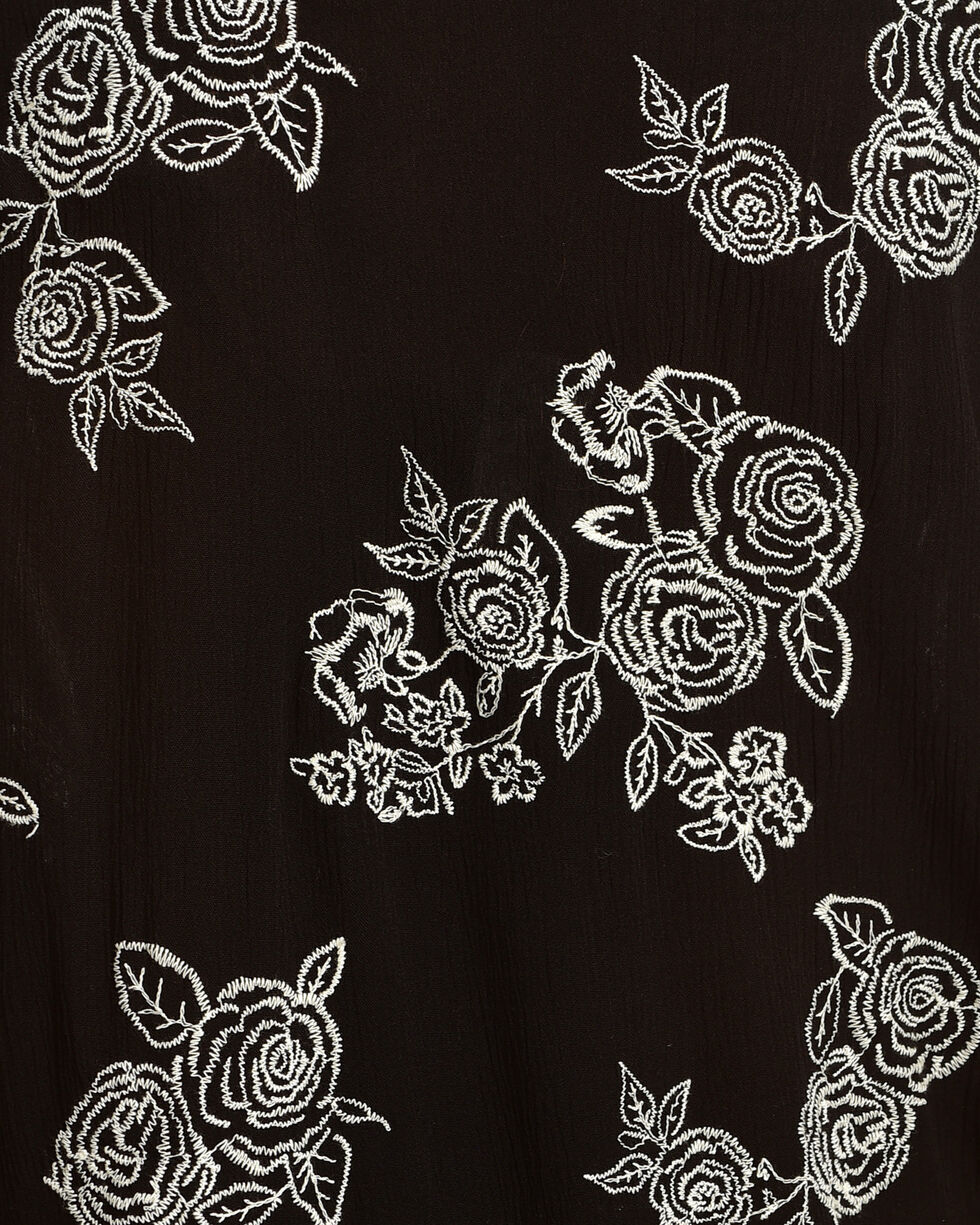 Ivory Love Women's Black Embroidered Rose Kimono , Black, hi-res