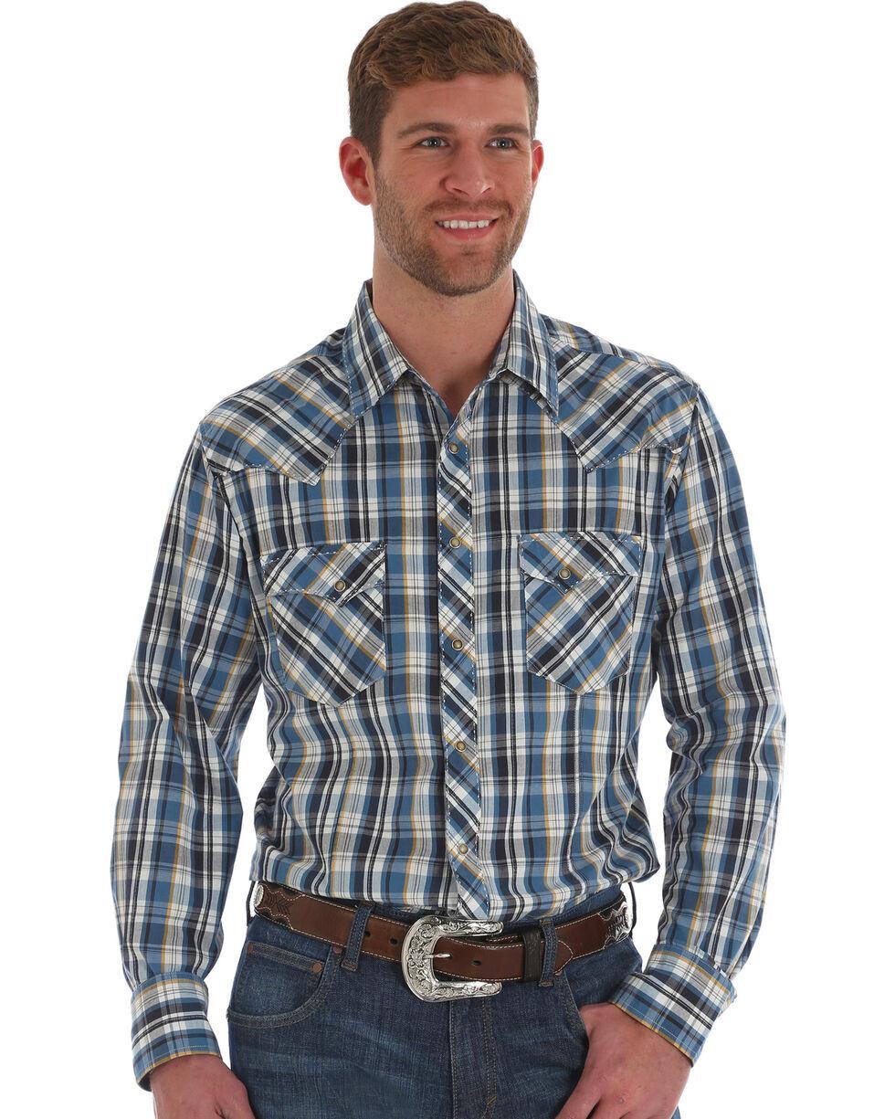 Wrangler Men's Blue/Black Plaid Long Sleeve Western Snap Shirt, Blue, hi-res
