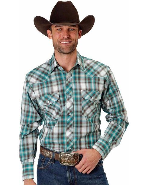 Roper Men's Woven Plaid Long Sleeve Shirt, Turquoise, hi-res