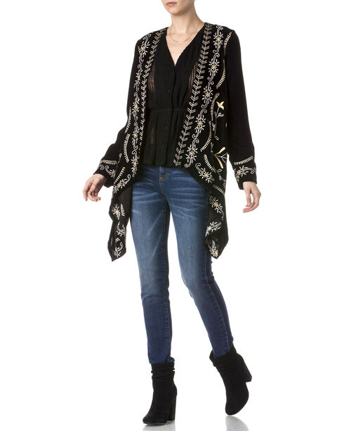 Miss Me Women's Embroidered Black Velvet Cardigan, Black, hi-res