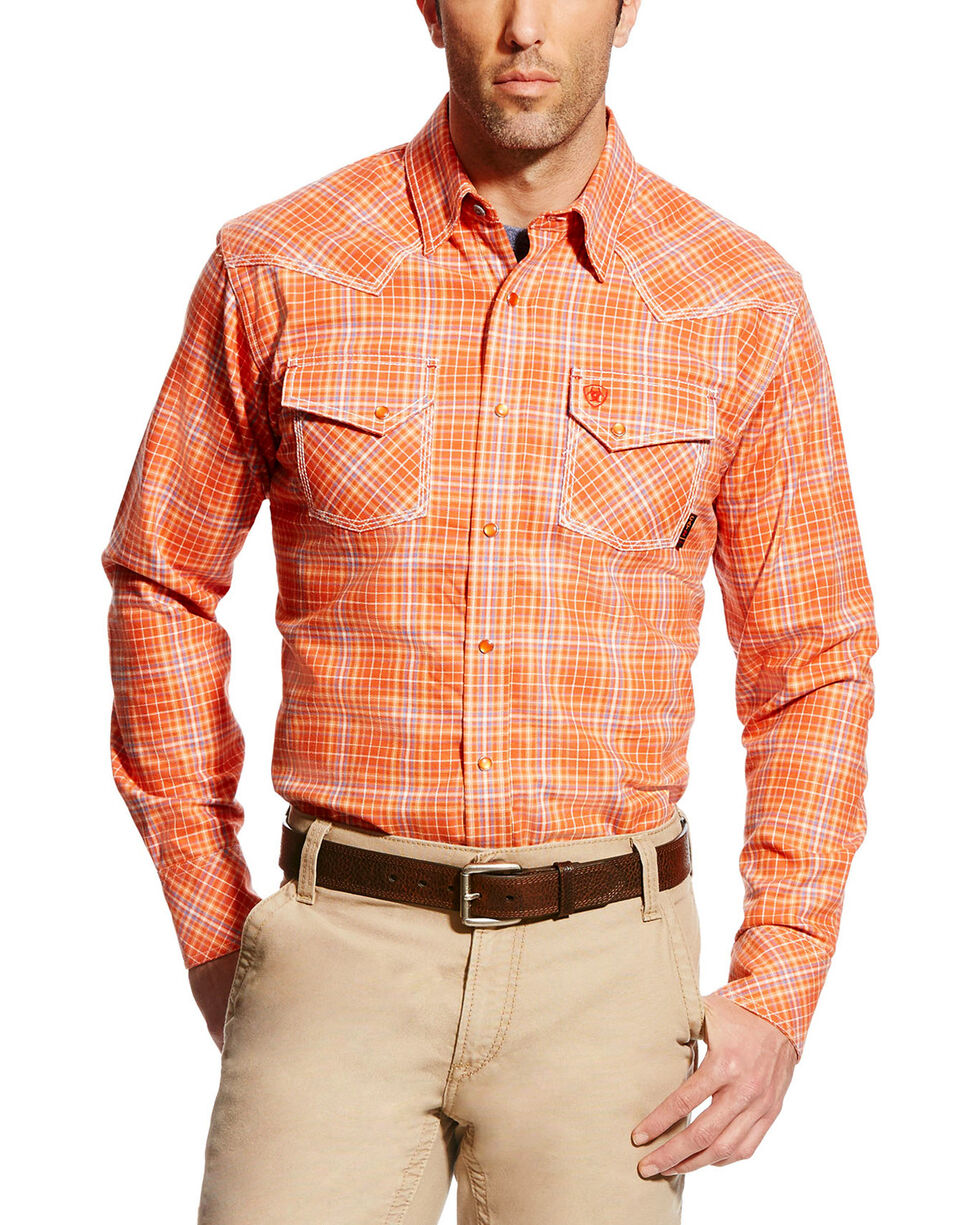 Ariat Men's FR Grant Retro Long Sleeve Plaid Work Shirt, Red, hi-res