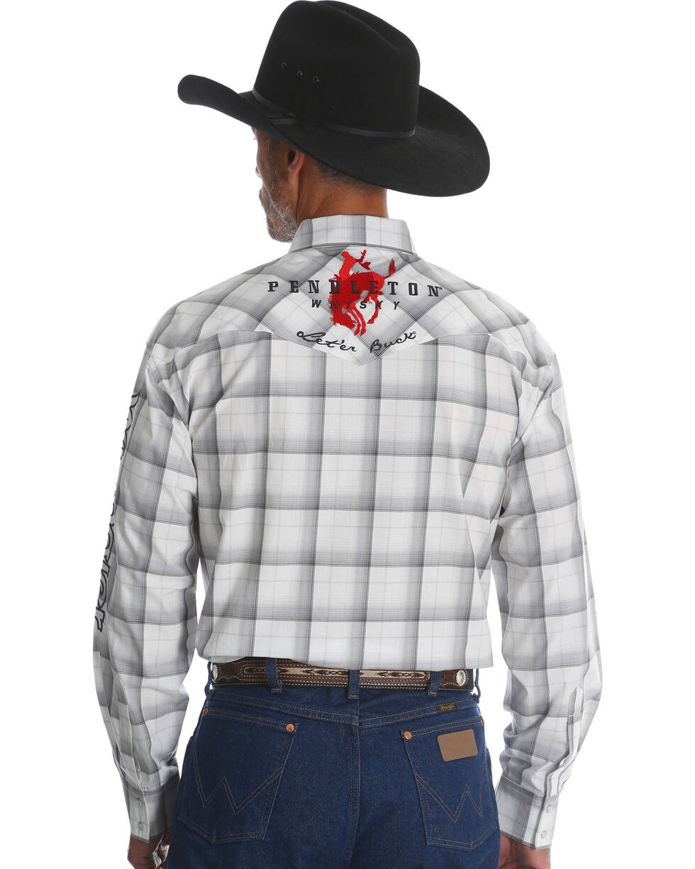 Wrangler Men's Plaid Logo Long Sleeve Shirt - Tall, White, hi-res