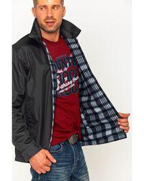 China Leather Men's Black Reversible Plaid Jacket , , hi-res