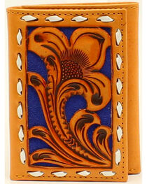 Nocona Men's Tri-Fold Blue Floral Embossed Wallet, , hi-res