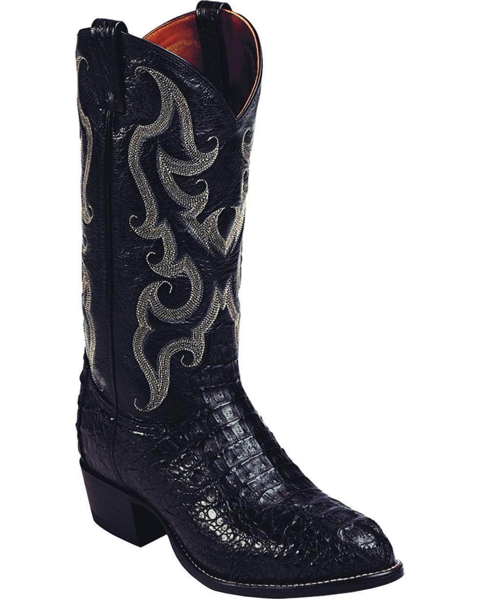 Tony Lama Men's Hornback Caiman Exotic Western Boots, Black, hi-res