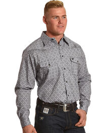 Cowboy Hardware Men's Grey Town Square Print Long Sleeve Shirt, Grey, hi-res