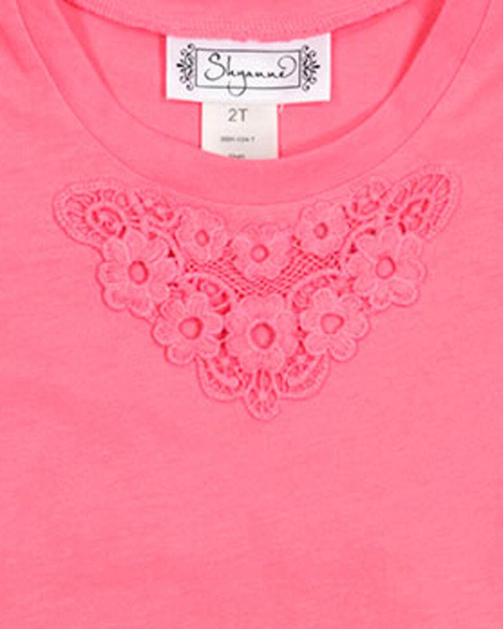 Shyanne Girl's Short Sleeve Floral Back Tee, Coral, hi-res
