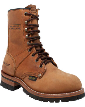 "Ad Tec Women's 9"" Brown Leather Logger Boots - Soft Toe, Brown, hi-res"