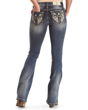 "Miss Me Women's Wing Flap Pocket Boot Cut Jeans - 32"" Inseam , Blue, hi-res"