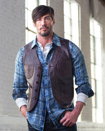 Ryan Michael Men's Leather & Indigo Print Vest, , hi-res