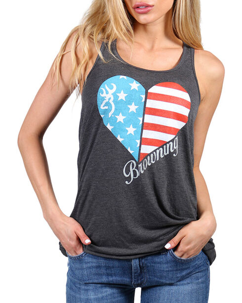 Browning Women's Glory Flag Herat Graphic Tank, Charcoal, hi-res