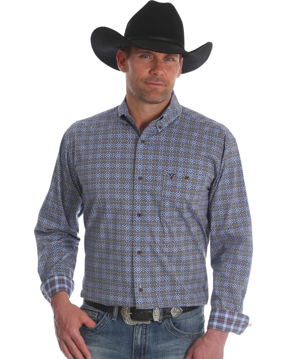 Wrangler Men's Blue 20X Advanced Comfort Competition Shirt | Tuggl