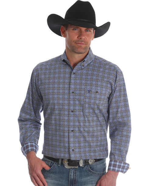 Wrangler Men's Blue 20X Advanced Comfort Competition Shirt - Tall, Blue, hi-res