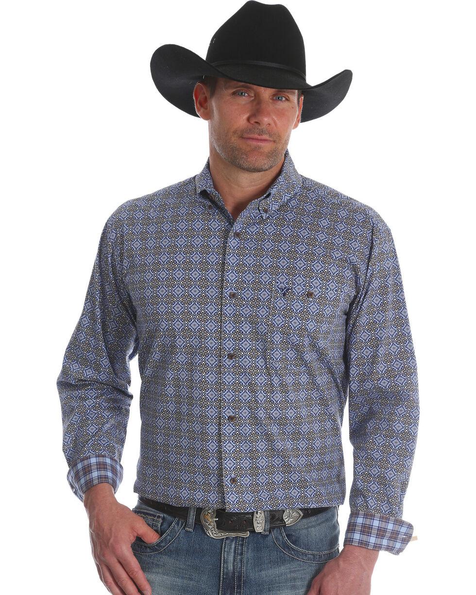 Wrangler Men's Blue 20X Advanced Comfort Competition Shirt - Tall, Blue, hi-res