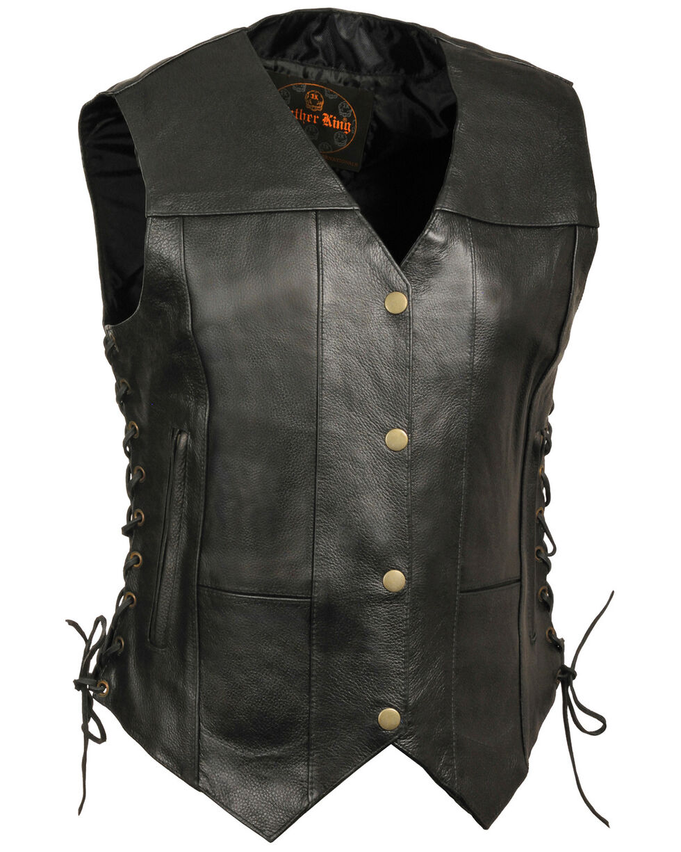 Milwaukee Leather Women's Black 6 Pocket Side Lace Conceal Carry Vest - 3X , Black, hi-res