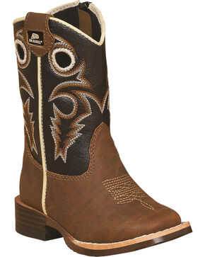 Double Barrel Boys' Brown Trace Zipper Cowboy Boots - Square Toe , Brown, hi-res