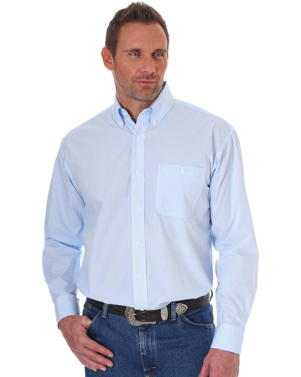 Wrangler Men's George Strait Blue Printed Shirt , Blue, hi-res