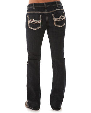 Cowgirl Tuff Women's Golden Boot Cut Jeans, Dark Blue, hi-res