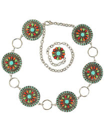 Nocona Colorful Concho Chain Belt, , hi-res