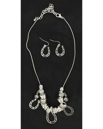 Blazin Roxx Horseshoe Charm Necklace & Earrings Set, , hi-res