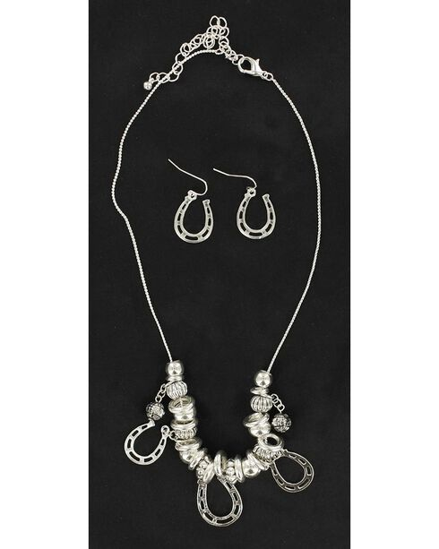 Blazin Roxx Horseshoe Charm Necklace & Earrings Set, Silver, hi-res