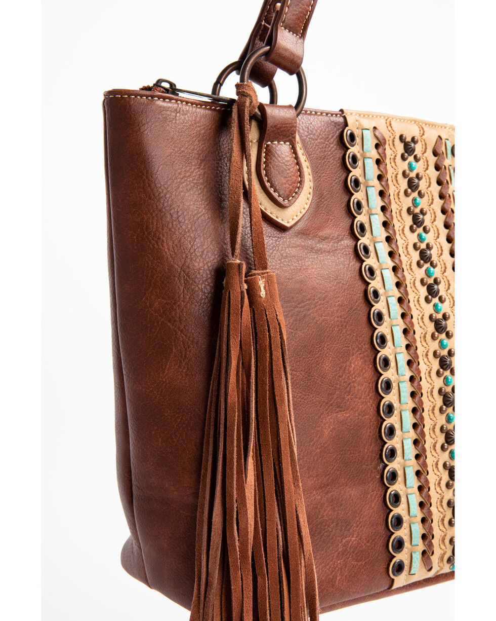Blazin Roxx Brown Cross Overlay Hobo Handbag, Brown, hi-res