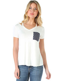 Wrangler Women's Short Sleeve V-Neck Top with Straps , , hi-res