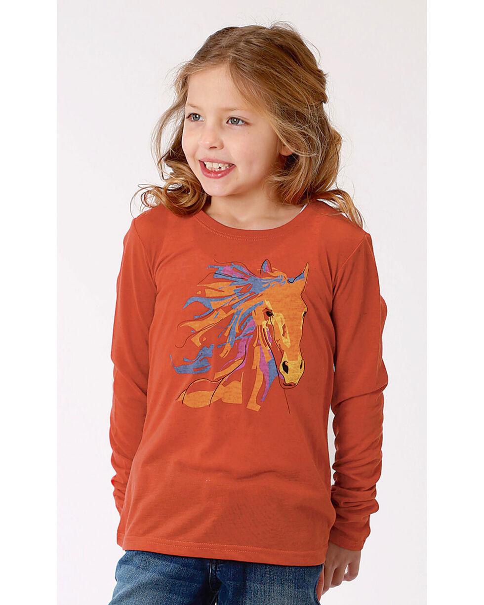 Roper Girls' Long Sleeve Horse Tee, Orange, hi-res