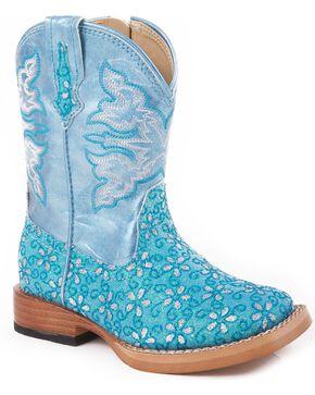 Roper Infant's Floral Glitter Western Boots, Blue, hi-res