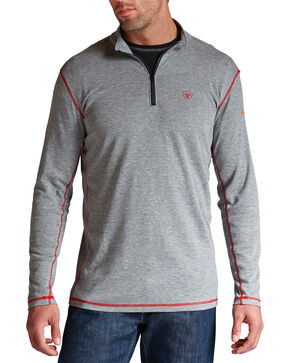 Ariat Men's Polartec 1/4-Zip Flame-Resistant Base Layer, Hthr Grey, hi-res