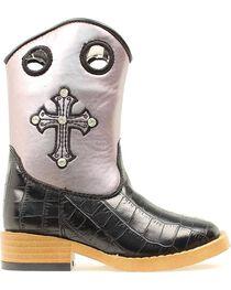 Blazin Roxx Youth Sonora Croc Print Cowgirl Boots - Square Toe, , hi-res