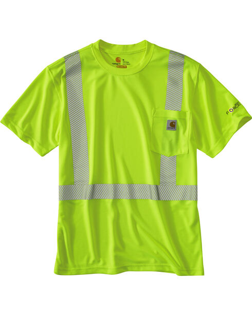 Carhartt Men's Short Sleeve Force High Visibility Class 2 T-Shirt, Lime, hi-res