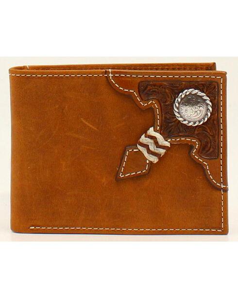 Ariat Rawhide Knot Concho Bi-fold Wallet, Aged Bark, hi-res