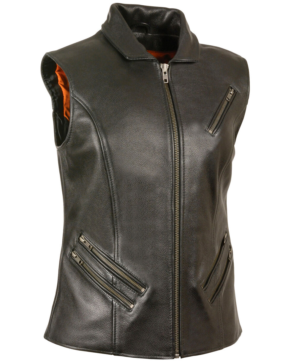 Milwaukee Leather Women's Extra Long Zipper Front Vest - 4X, Black, hi-res