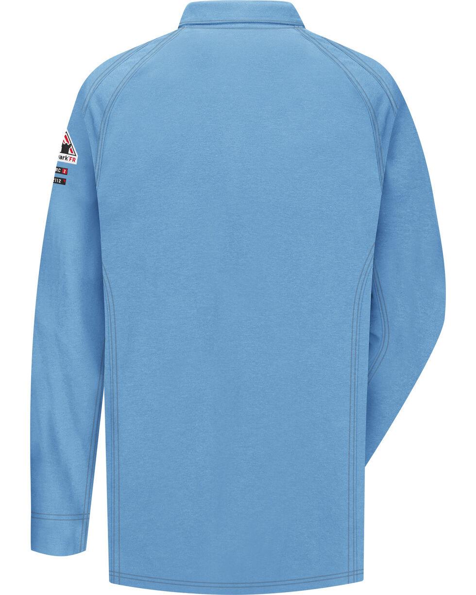Bulwark Men's Blue iQ Series Flame Resistant Long Sleeve Polo , Blue, hi-res