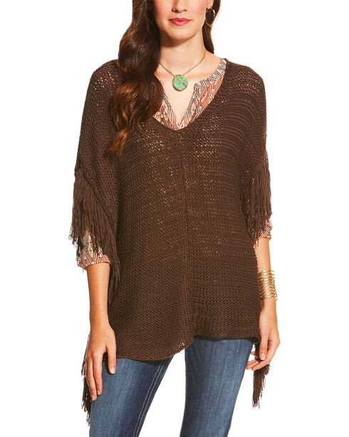 Ariat Women's Fringe Trim Poncho, Brown, hi-res