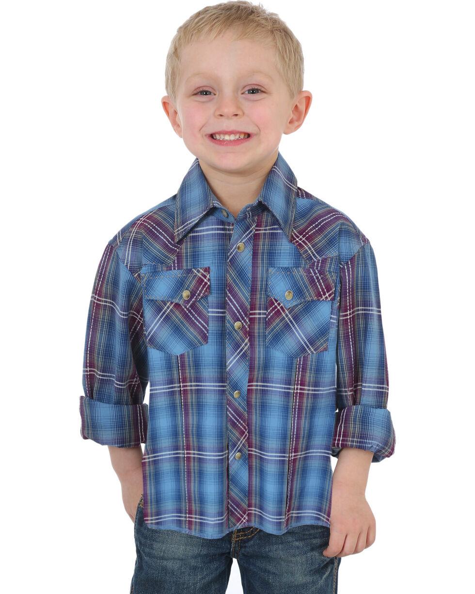 Wrangler Boys' Assorted Western Plaid Shirt , Multi, hi-res